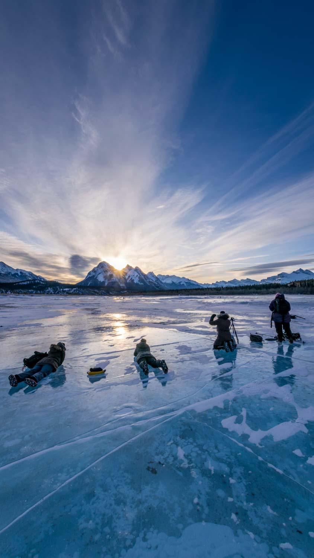 Sunrise photo tour at Abraham Lake